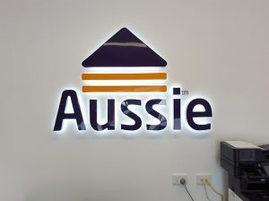 aussie home loans illuminated reception sign