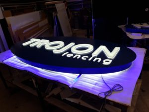 trojon fencing darwin elipse led sign